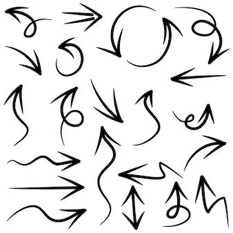 Conjunto de setas desenhadas à mão