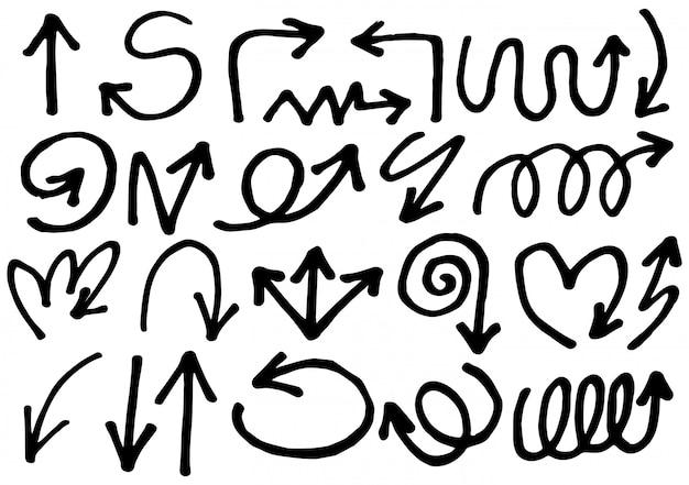 Conjunto de setas desenhadas mão