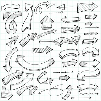 Conjunto de setas direcionais criativas desenhadas à mão