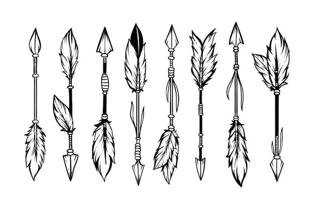 Conjunto de setas étnicas desenhadas à mão no estilo boho