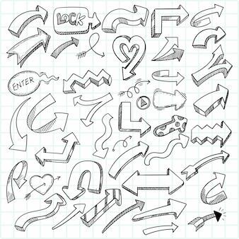 Conjunto de setas geométricas criativas desenhadas à mão