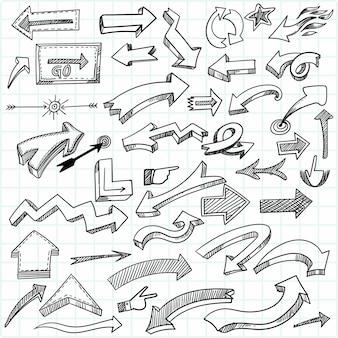 Conjunto de setas geométricas desenhadas à mão