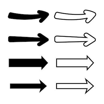 Conjunto de setas isoladas de vetor. elementos pretos e contornados.