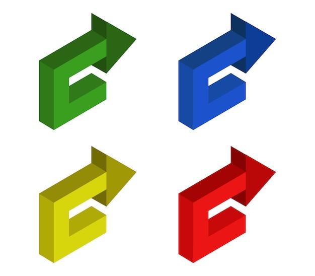 Conjunto de setas isométrica