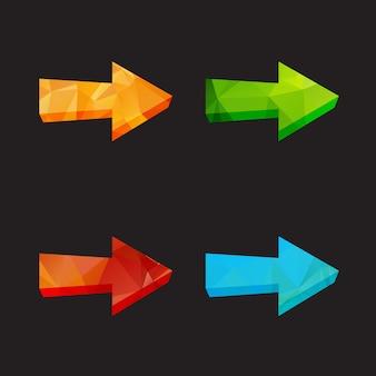 Conjunto de setas poligonais triângulo isolado