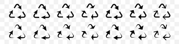 Conjunto de setas pretas de reciclagem em fundo transparente