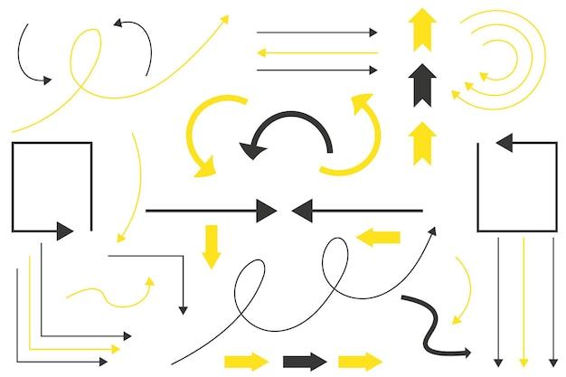 Conjunto de setas pretas e amarelas ícones de seta gráficos vetoriais