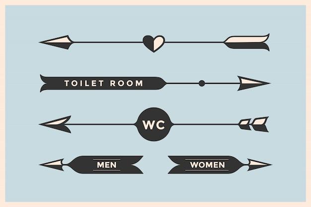 Conjunto de setas vintage com inscrição wc, quarto de banho