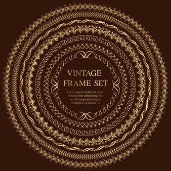 Conjunto de sete quadros redondos de ouro vintage isolados em um fundo escuro. ilustração.