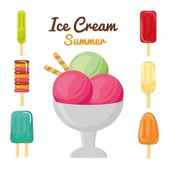 Conjunto de sete sorvetes com ícones e letras