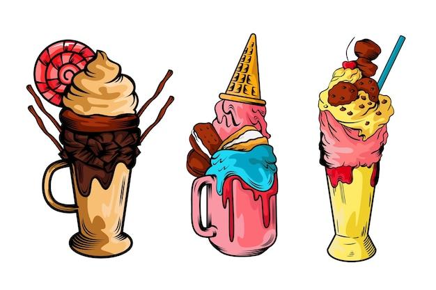 Conjunto de shakes de monstro desenhado de mão