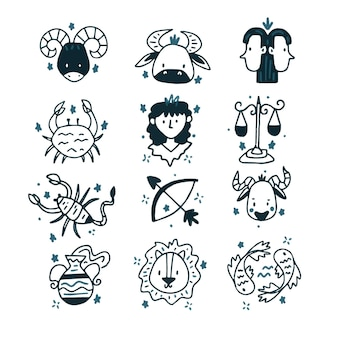Conjunto de signos desenhados à mão