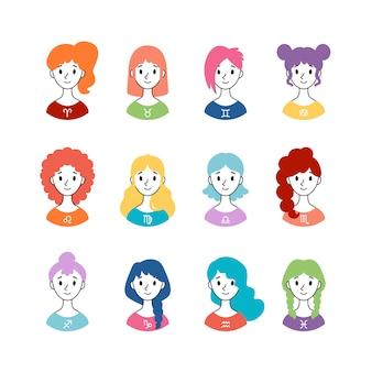 Conjunto de signos do horóscopo como mulheres. coleção de signos do zodíaco