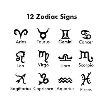 Conjunto de signos do zodíaco de 12 meses