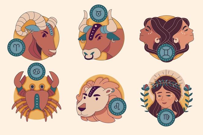 Conjunto de signos do zodíaco de design plano