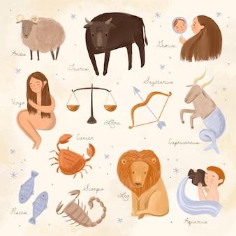 Conjunto de signos do zodíaco pintados à mão em aquarela