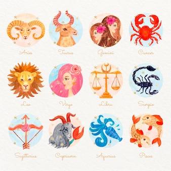 Conjunto de signos do zodíaco pintados à mão