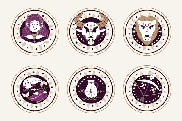 Conjunto de signos do zodíaco plano