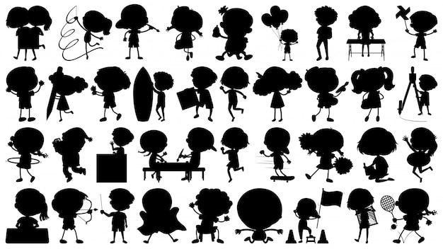 Conjunto de sihouette objetos isolados tema crianças em ações