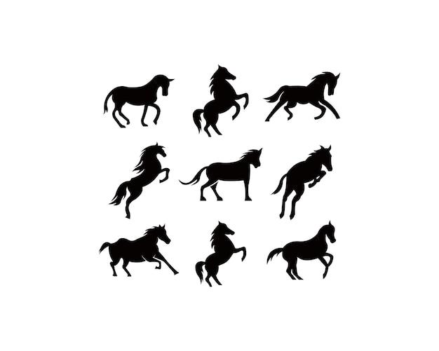 Conjunto de silhueta animal cavalo