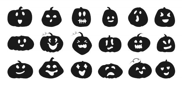 Conjunto de silhueta de abóboras de halloween com rostos bonitos esculpidos. ícones pretos esmagam diferentes formas e emoções. modelo para cortar o sorriso de abóbora