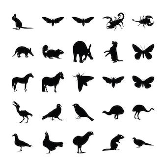 Conjunto de silhueta de animais