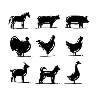 Conjunto de silhueta de animal de fazenda