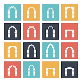 Conjunto de silhueta de arcos em estilo simples.
