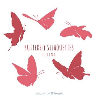 Conjunto de silhueta de borboleta