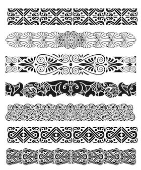 Conjunto de silhueta de bordas de decoração árabe