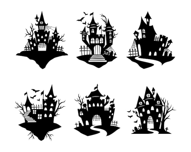 Conjunto de silhueta de casa assombrada