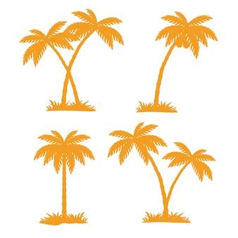Conjunto de silhueta de coqueiros tropicais
