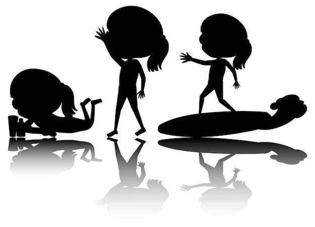Conjunto de silhueta de crianças com reflexo em fundo branco