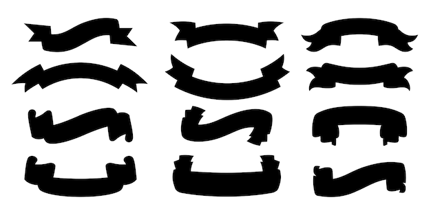Conjunto de silhueta de fita. cole a coleção de estilo glifo preto em branco, contorno ícones decorativos. sinal de fitas de design vintage. kit de ícones da web de fitas de banner de texto. ilustração isolada