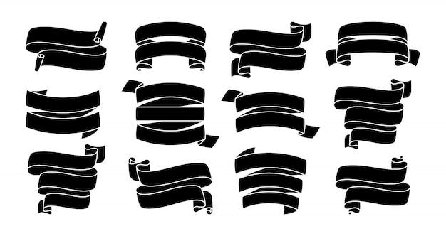 Conjunto de silhueta de fita preta. ícones decorativos, coleção de glifos de fita. design moderno para cartões, convites de banners, sinal de fitas. kit de ícones da web do banner de texto. ilustração isolada