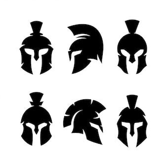Conjunto de silhueta de guerreiro capacete espartano