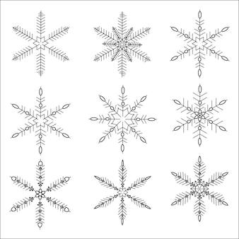 Conjunto de silhueta de ícone preto isolado de flocos de neve em fundo branco. ícones de neve plana, silhueta. bom elemento para banner de natal, cartões. enfeite de ano novo. vetor