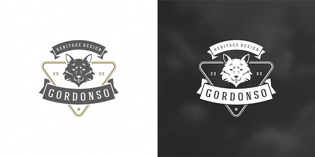 Conjunto de silhueta de ilustração de logotipo de cabeça fox