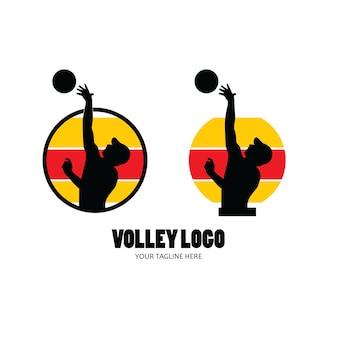 Conjunto de silhueta de jogador de voleibol