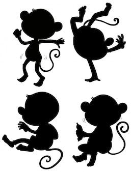 Conjunto de silhueta de macaco