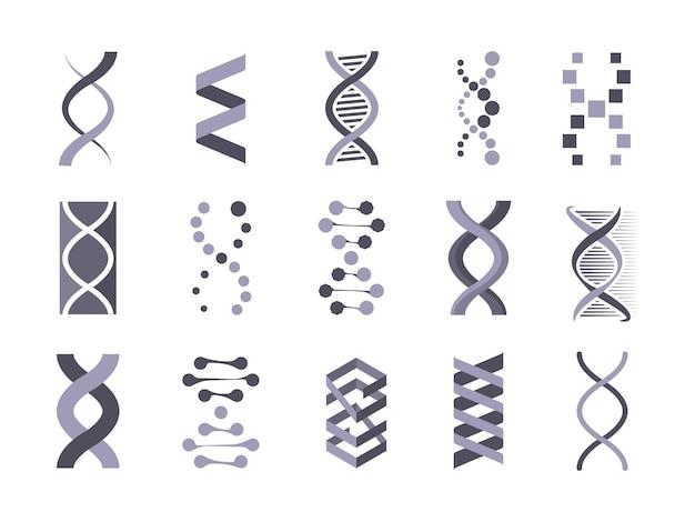 Conjunto de silhueta de molécula de hélice de dna