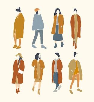 Conjunto de silhueta de mulher plana minimalista da moda.