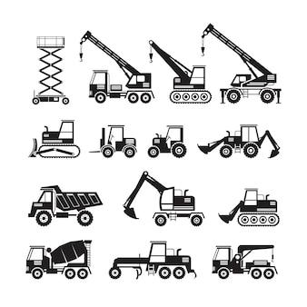 Conjunto de silhueta de objetos de veículos de construção, vista lateral