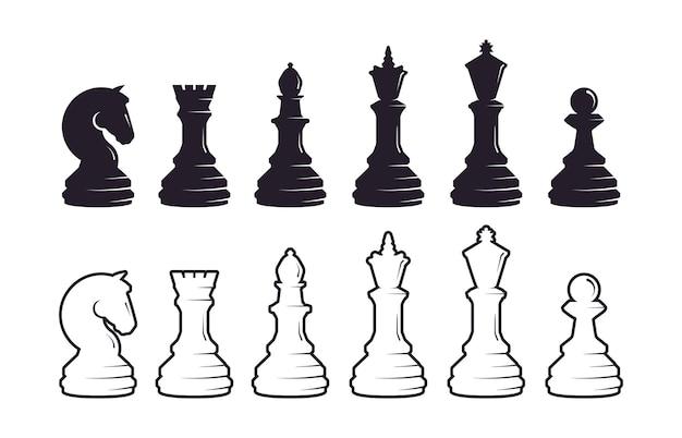 Conjunto de silhueta de peças de xadrez