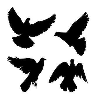 Conjunto de silhueta de pombos.