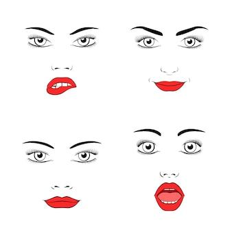 Conjunto de silhueta de rosto de mulher bonita. emoções e alegria, surpresa e raiva.