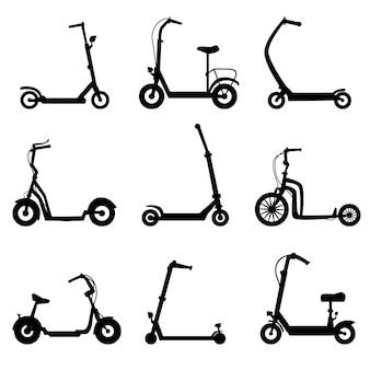 Conjunto de silhueta de scooter