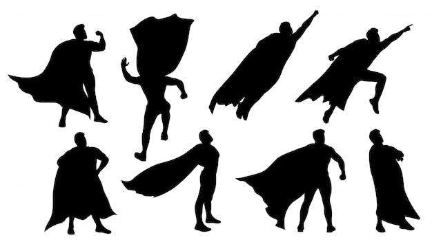 Conjunto de silhueta de super herói