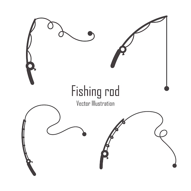 Conjunto de silhueta de vara de pesca