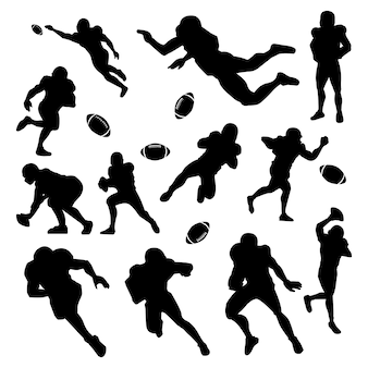 Conjunto de silhueta do jogador de futebol americano
